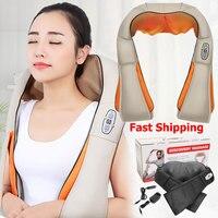 U Shape Electrical Shiatsu Back Neck Shoulder Body Massager Infrared Heated Kneading Car/Home Massagem