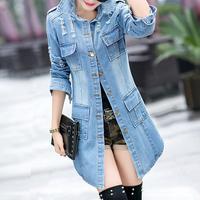 Весенняя Джинсовая длинная куртка, пальто, синяя приталенная джинсовая куртка, модная уличная Женская куртка, джинсовая куртка с длинными р...
