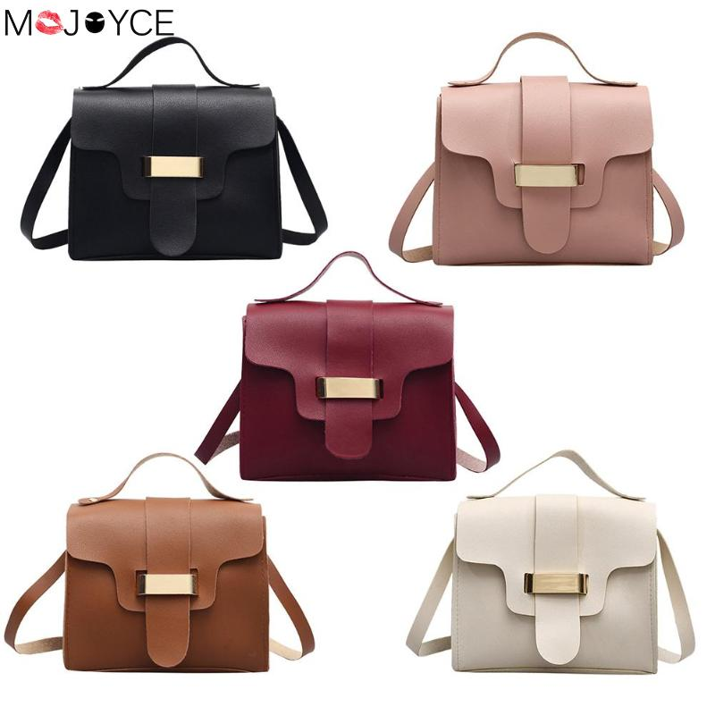 Messenger Handbags Crossbody-Bag Small Solid-Color Women Casual Simple PU