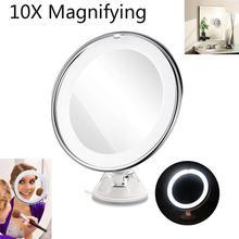 RUIMIO 8 pouces 10X LED grossissant table ronde maquillage cosmétique miroir avec ventouse (blanc)