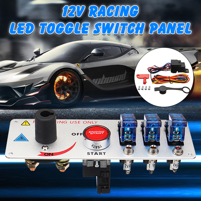 Car Auto Racing LED Toggle Ignition Switch Panel Engine Start Push Buttons Set Kit Aluminum Alloy+Plastic Car Switches Pannel