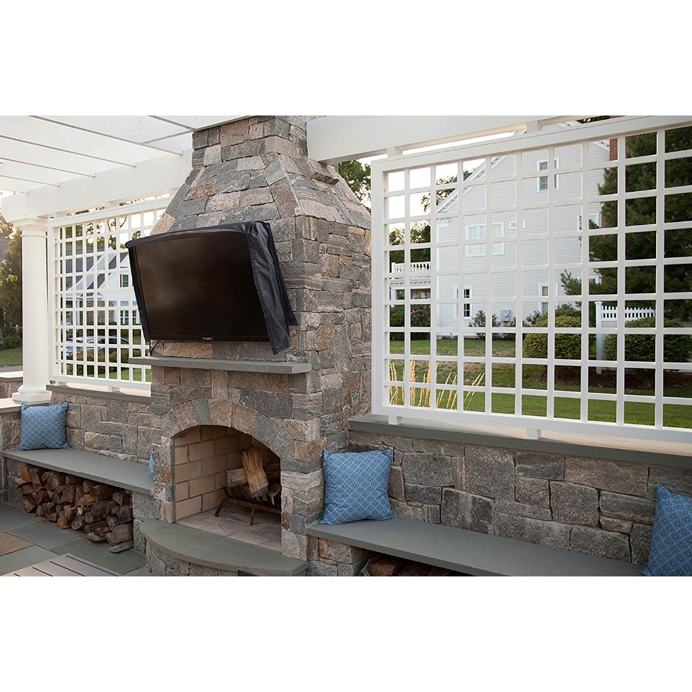 outdoor tv cover with transparent front flap bottom cover weatherproof dustproof material protect lcd television patio tv cover