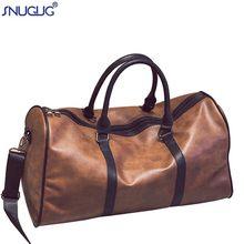 9452ea6e1226 SNUGUG большой Ёмкость из искусственной кожи мужские дорожные сумки Винтаж  ведро сумки на ремне большой объем