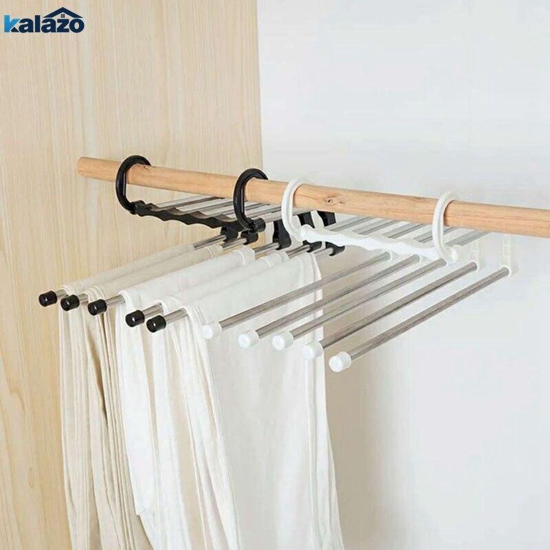 Low price  ABS stainless steel cloth storage Rack Multifunction Dual Hooks 5 Ways Pants Trousers Hanger Rack B