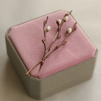 Free shipping handmade natural pearls green willow tree brooch