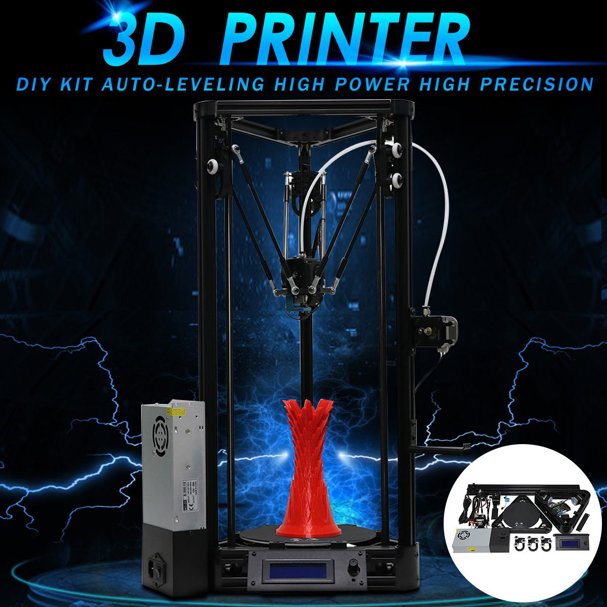 3D Imprimante Poulie 180*300mm bricolage FDM Auto-Nivellement Haute Puissance Haute Précisions 3D Drucker Imprimante kit de bricolage