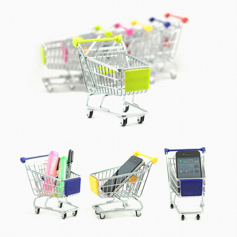 Mini Children's Play House Trolley Toy Desk Small Storage Basket Home Decoration Toys Shopping Cart Toy Kids Shopping Cart