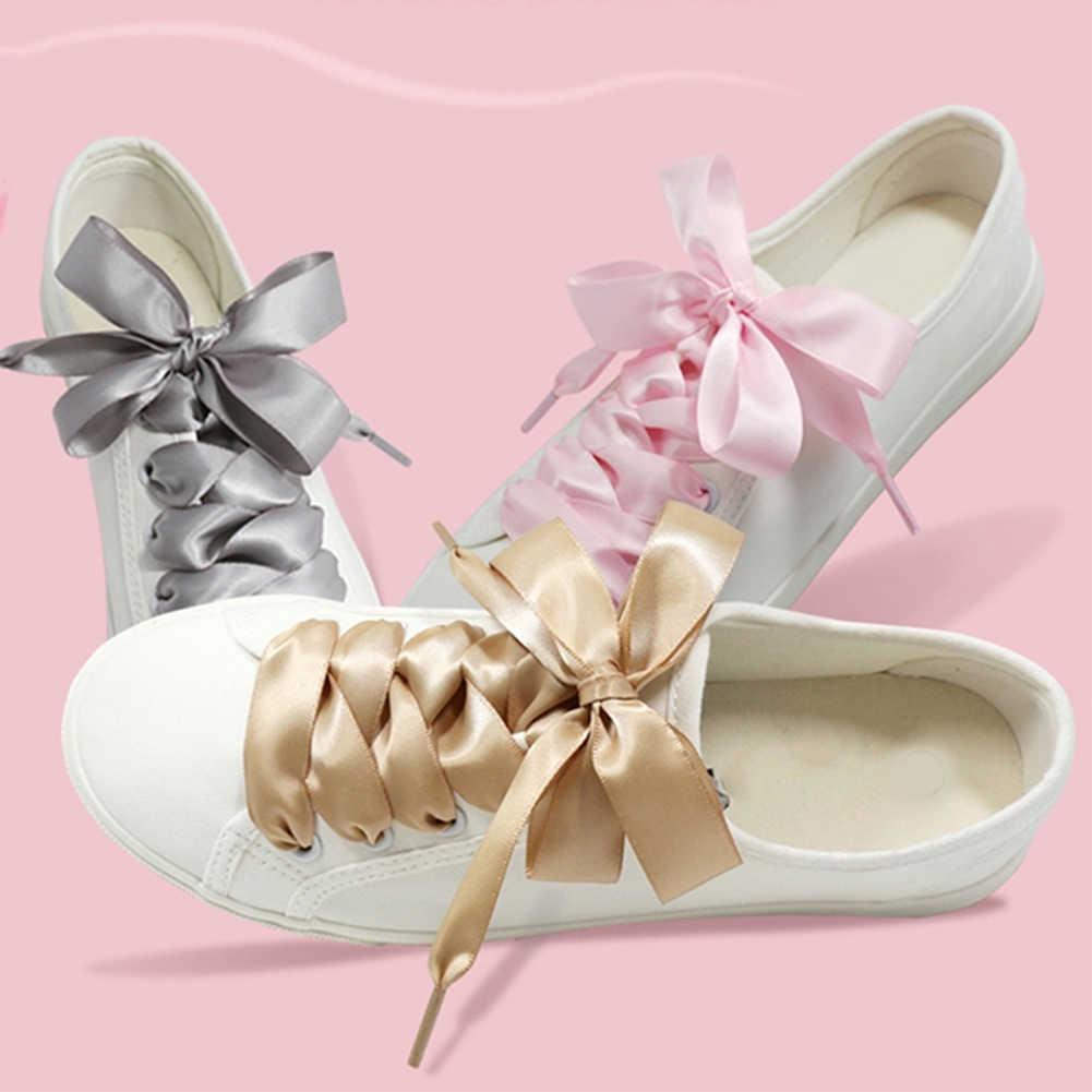 Модные шелковые шнурки для обуви; разноцветный атлас; шелковые ленты; кроссовки со шнурками; 4 см; широкие шнурки