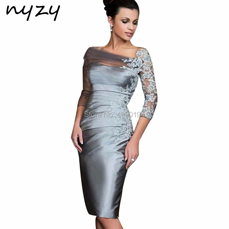 NYZY C84 Satin Pleats 3/4 Sleeves Lace Robe Cocktail Dresses Gray Formal Dress Wedding Party Dress Vestido Coctel Mujer