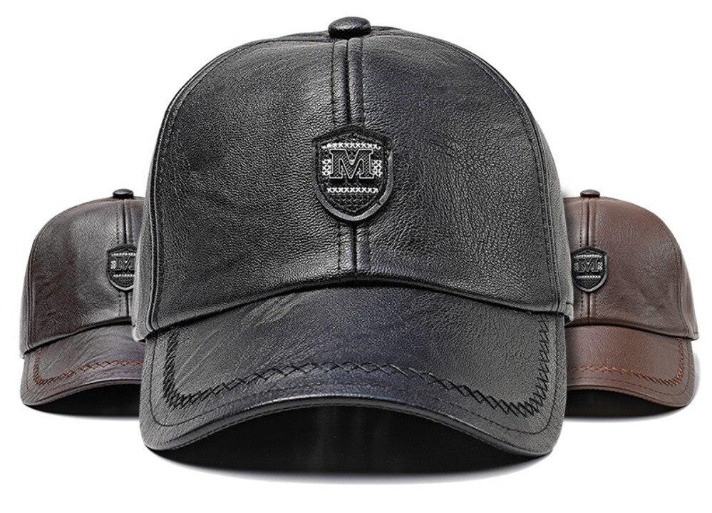 d7339d22932 Detail Feedback Questions about Yang Crown PU Skin Peaked Cap Man Earmuffs Baseball  Hat Autumn And Winter Outdoors Keep Warm Windbreak Quinquagenarian Hats ...
