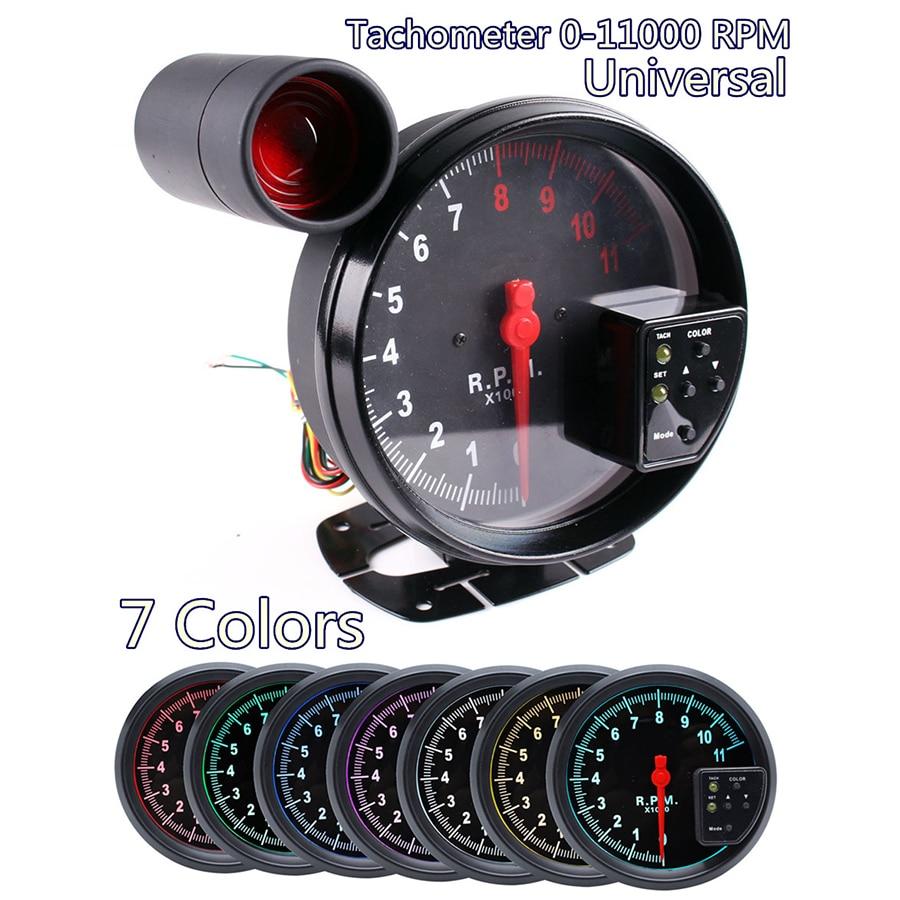 5 pouces voiture RPM 11000 K tachymètre jauge 7 couleur rétro-éclairage rpm LED lumière de décalage 12 V pour les véhicules à moteur 4/6/8 cylindres