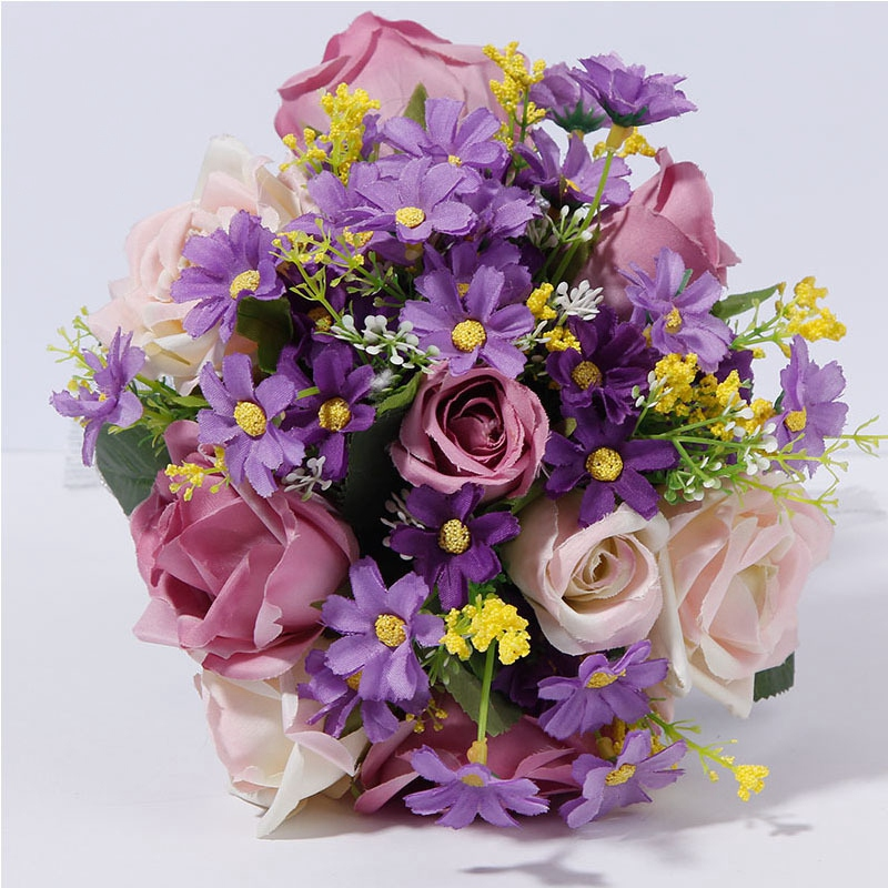 Bride Holding Flowers Romantic Wedding Colorful Rose Bride 39 S Bouquet Purple Pink Bridal Bouquets in Artificial amp Dried Flowers from Home amp Garden