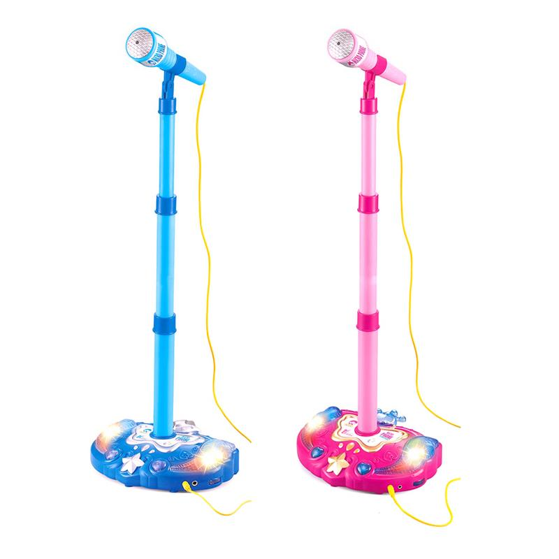 Kids Early Education Musical Toy Stand Type Music Microphone Adjustable Karaoke Microphone Connect To Mobile Phone
