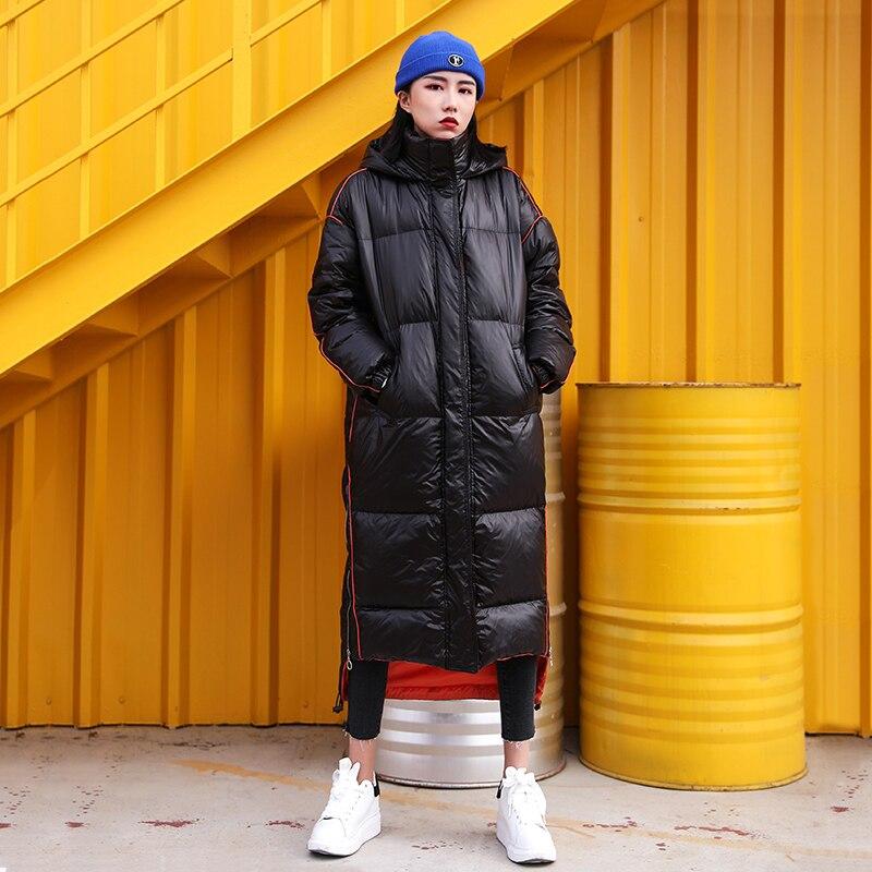 Zipper Vêtements Taille 2019 Veste Épais Matelassé Chauds Lâche Coréen Coton Okd647 Longue Parka Black D'extérieur Grande Femme Manteau Lumineux Hiver X6qwvd7BBx
