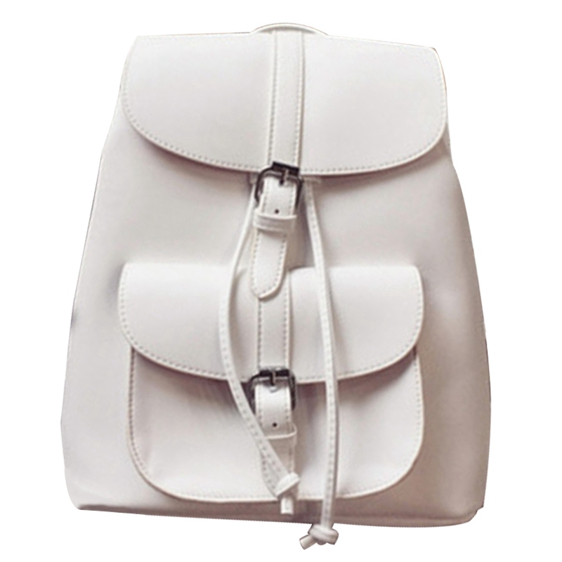 Fashionable Women's Pull-Rope Pu Leather Backpack Belt Decoration Schoolbag Student Shoulder Bag(White)