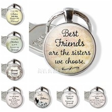 Fashion Accessories Best Friends Are The Sisters We Choose, Friendship Pendant Quote Jewelry best friend key chains Keychain(China)
