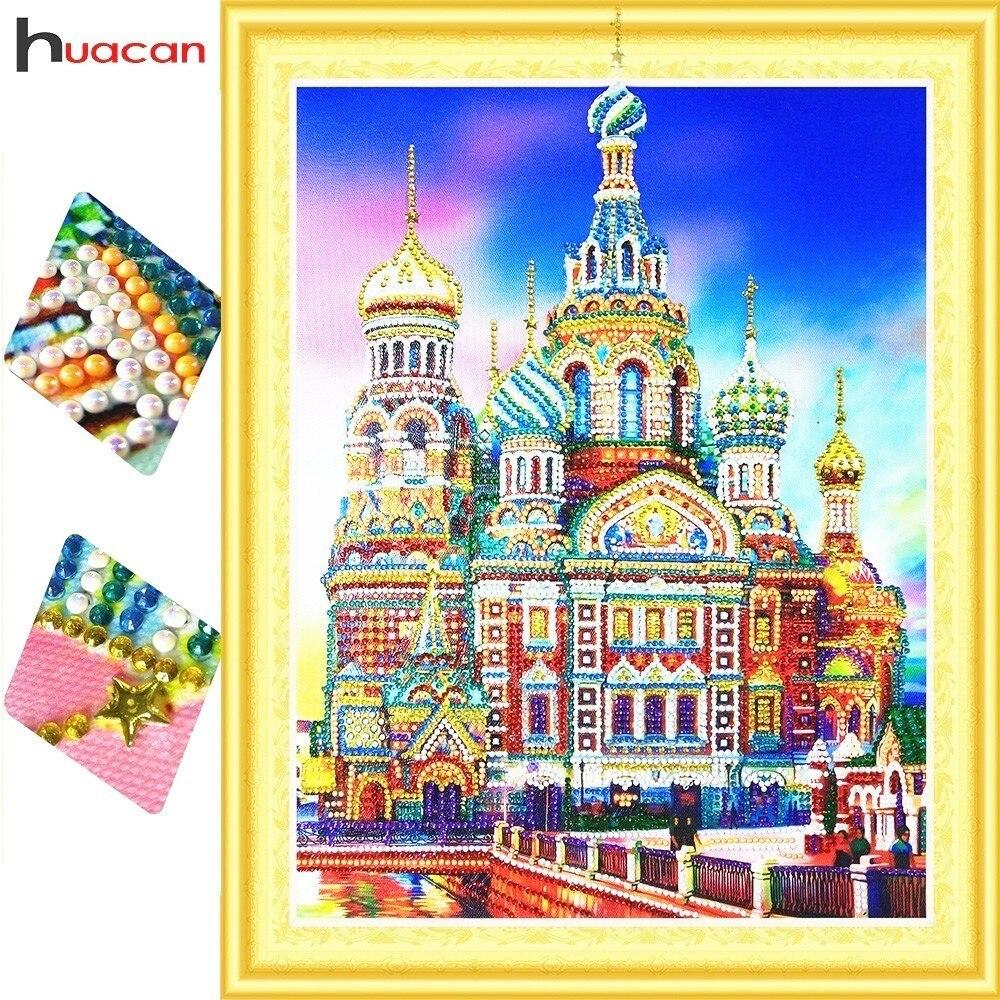 HUACAN Speciale a Forma di Diamante Pittura di Paesaggio di Diamante Del Ricamo di Vendita Kit Completo Immagine Di Strass Fai Da Te Castello 40x50 cm