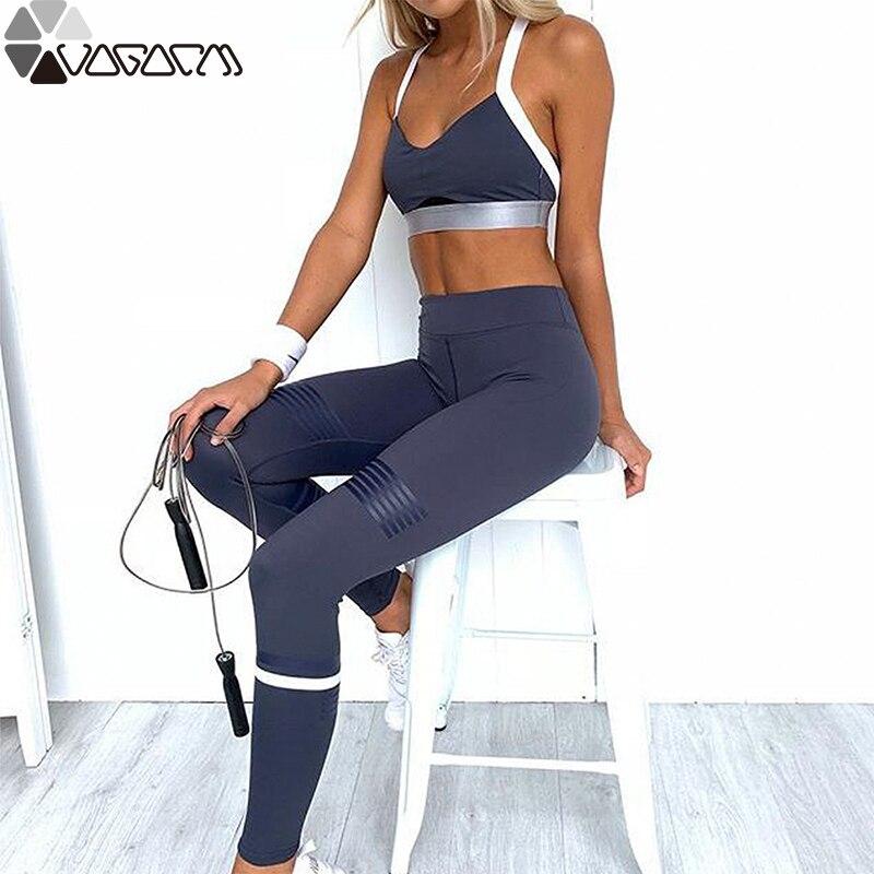 Été femmes Gym soutien-gorge + leggings 2 pièces encre impression Yoga Fitness gilet pantalon sport costume Yoga vêtements costume femme vêtements de course