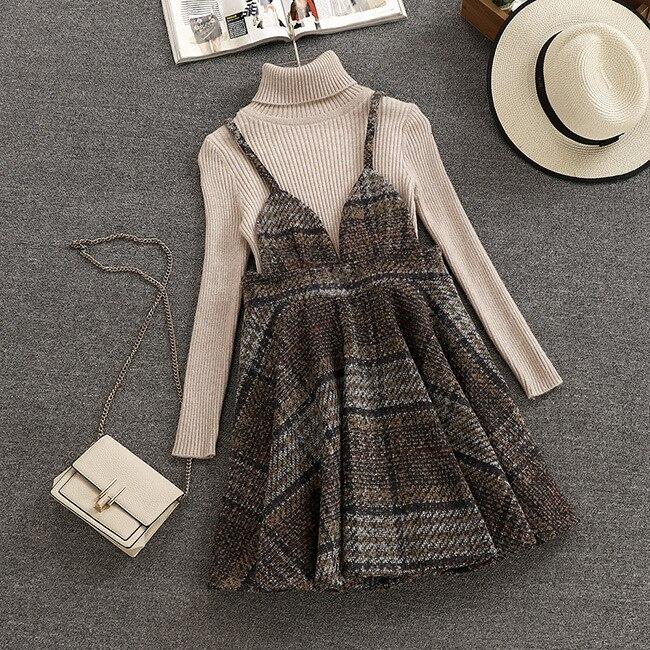 Mooirue Spring Autumn Woolen Camisole Skirt Set Korean Turtleneck Sheath Sweater + Pleated Skirt Twinset Women 2 Pieces Sets