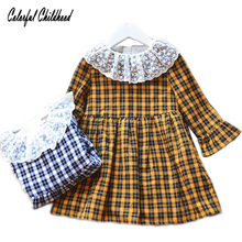 f203525e0a8 Toddler Girl Summer Dress Long Flare Sleeve Peter Pan Collar Sweet Laces  Plaid Country Style Baby