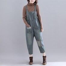 Qiukichonson Denim Jumpsuit Women Preppy Style 2019 New Fashion Front Pockets Applique Vintage Jeans High Waist overalls