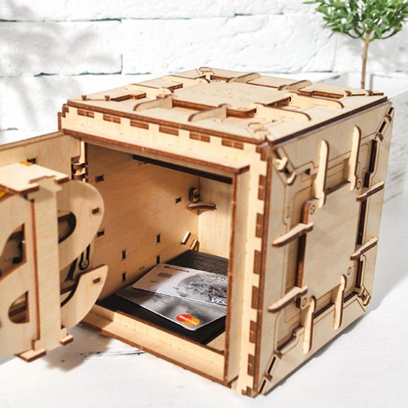 Bricolage créatif 3D assemblage en bois Puzzle jouet innovant serrure boîte au trésor Transmission mécanique romantique saint valentin cadeau