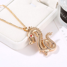 Red Eyes Gold Color Dragon Pendant Necklace