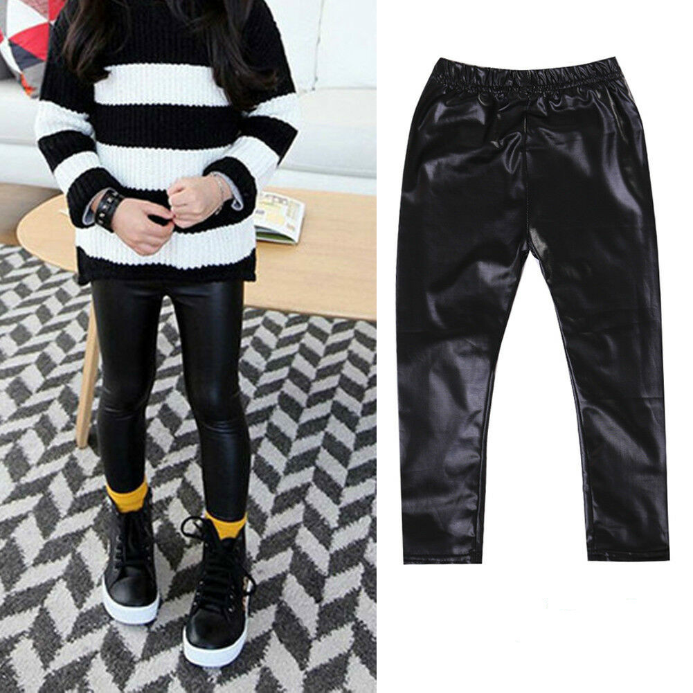 0c195fd92de60 Fashion Kid Toddler Baby Girl Stretchy PU Leather Pants Skinny Leggings  Trousers for 1-8Y ~ Premium Deal June 2019
