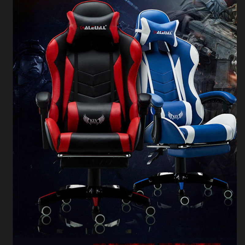Купить с кэшбэком Internet Cafes Computer Chair Lying Household Office Chair With Footrest Seat Racing Synthetic Soft Leather Cyber Games Chair
