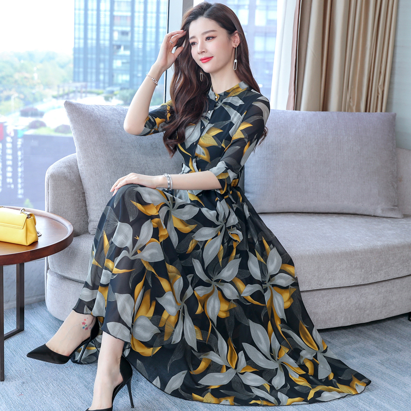 2019 Primavera Vestido De Gasa Estampado Casual Temperamento Mujeres Floral Vestidos Largos Vestido De Fiesta Vestido M 3xl Tamaño Vestidos Aliexpress
