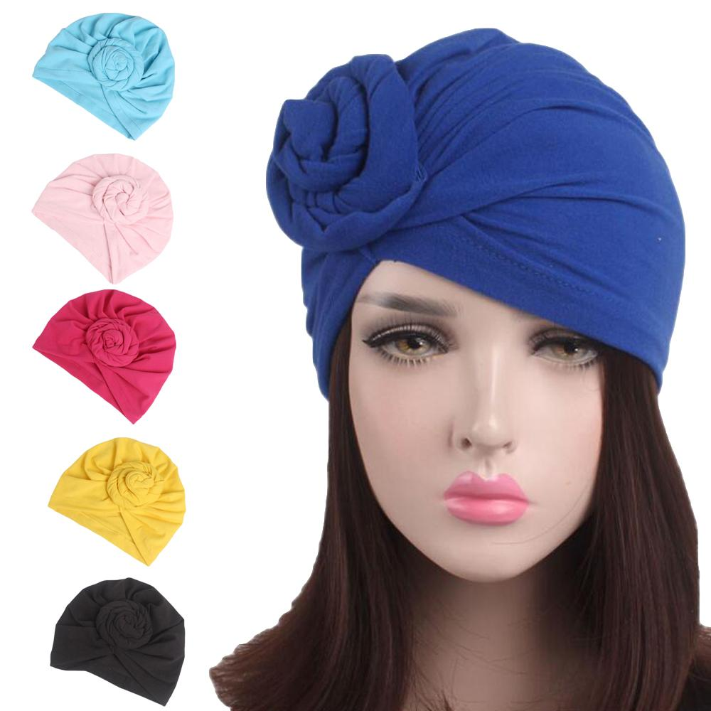 Women Cotton Cap Muslim India Hat Hemp Flower   Beanie   Turban Chemo Cap Bonnet Cap Ruffle Inner Cap Bonnet Headwrap Hair Loss New