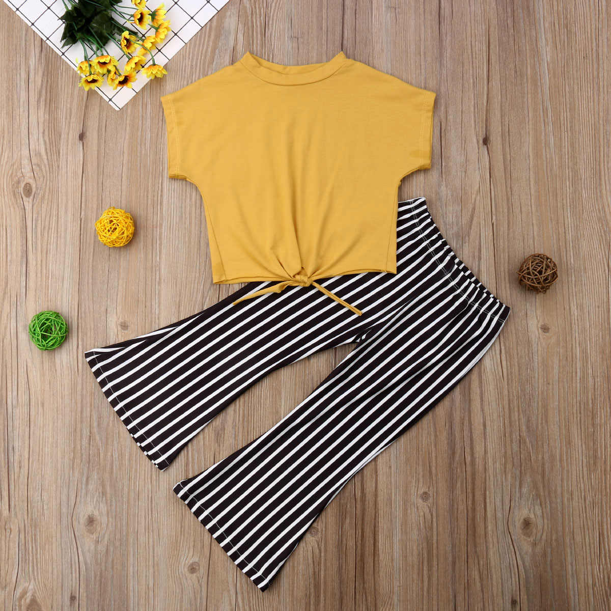 6e11422a25eecb ... 2-7Y Fashion Toddler Kids Baby Girl Short Sleeve Yellow T-shirt Tops  Striped ...