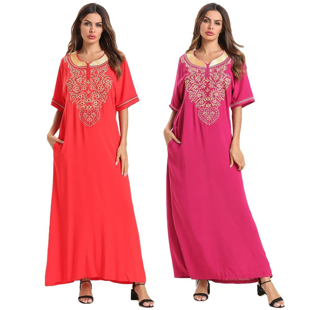 Muslim Ramadan Maxi Dress Embroidery Islamic Abaya Robe Kaftan Arab Casual Ethnic Style Loose Summer Dress Short Sleeve Fashion