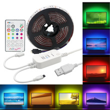 USB LED Strip with RF Remote Music controller IP20/IP65 Flexible Light 5050 RGB TV Background Lightgting