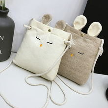 Hot Sell Kawaii Rabbit Style Cartoon Canvas Cotton Linen Small Cute Bags for Girls Kids Shoulder with Rope Strap