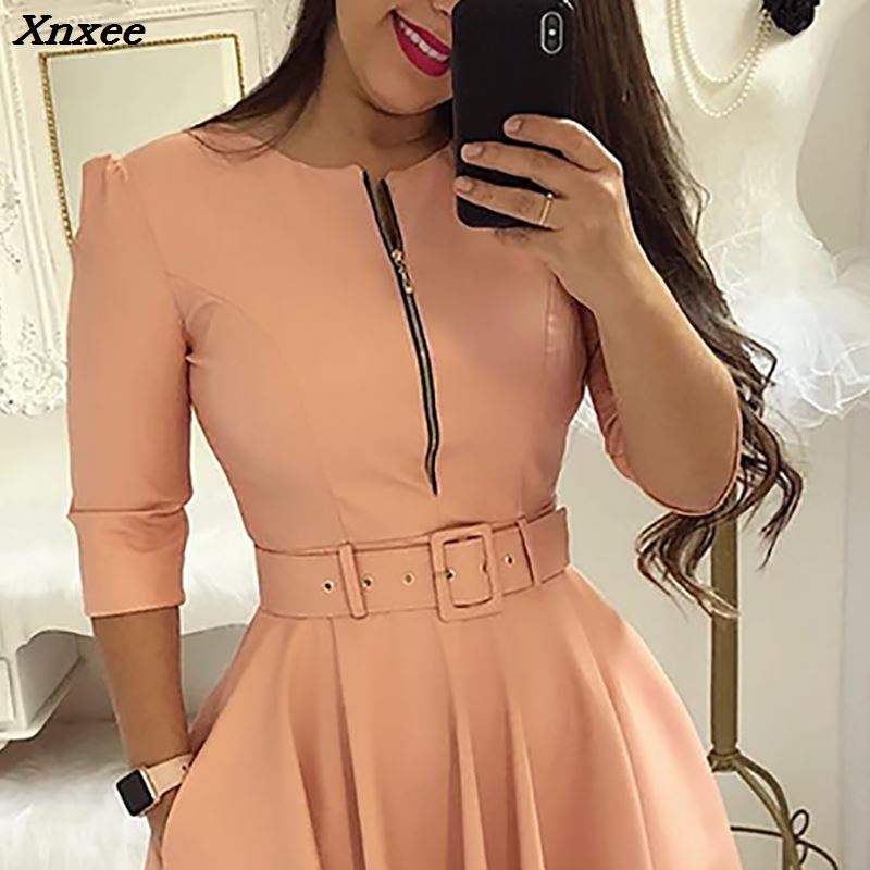2018 Summer Women Fashion Elegant A Line Tunic Party Dress Female O Neck Colorful Solid Zipper Up Belted Pleated Casual Dress in Dresses from Women 39 s Clothing