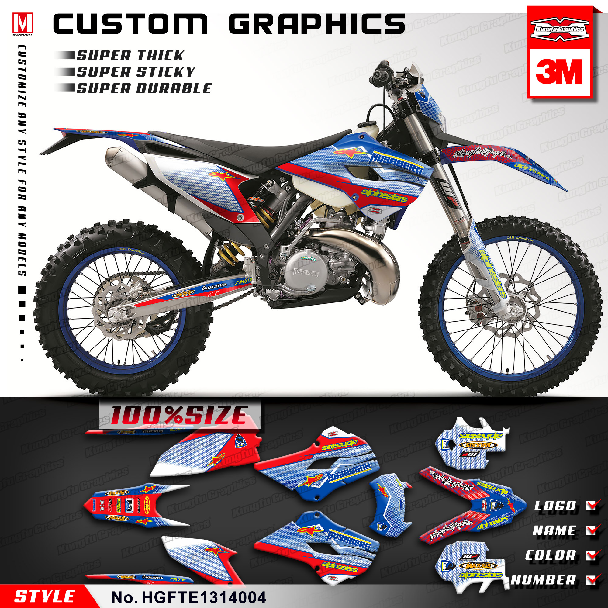 Us 139 89 kungfu graphics die cut stickers mx decal kit for husaberg te 125 250 300 fe 250 350 450 501 2013 2014 style no hgfte1314004 in decals
