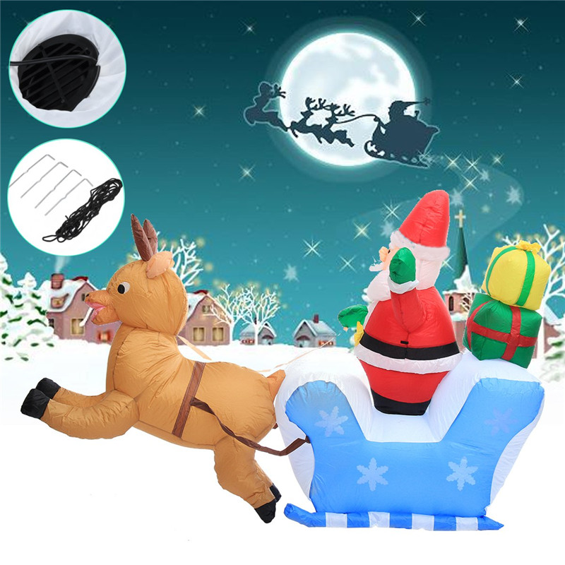 Christmas Decoration 2.2 Meter Inflatable Elk Santa Claus Blowup Toys For Kids Children Gift