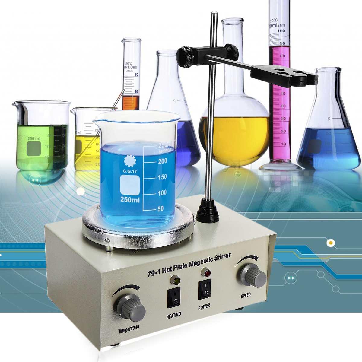 US/AU/EU 79-1/110/220 V 250 W 1000 ml agitador magnético de placa caliente laboratorio de calefacción Dual Control mezclador No ruido/vibración fusibles de protección