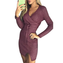 New Ribbed Bodycon Dress Women Knitted Wrap Bandage Dress V Neck Long Sleeves High Waist Slit Casual Mini Party Dress Vestidos