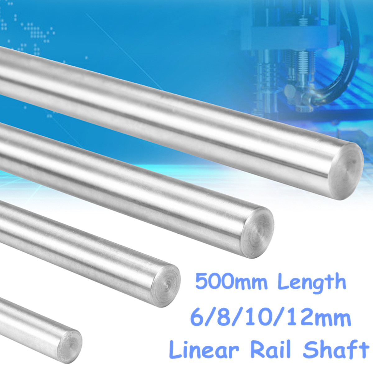100-500mm 15mm CNC 3D Printer Axis Chromed Smooth Rod Steel Linear Rail Shaft !