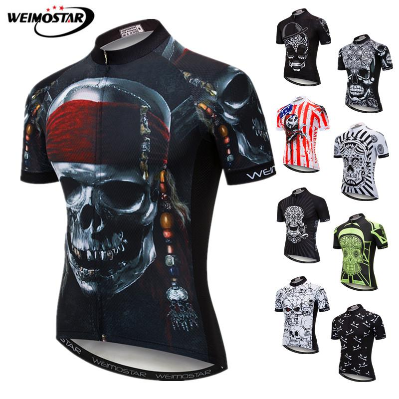 Weimostar Skull Cycling Jersey Men Pirate Bicycle Clothing Maillot Ciclismo Pro Team MTB Bike Jersey Cycling Shirt Ropa Ciclismo