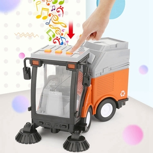 Image 5 - Simulation Road Sweeper Car Toy Garbage Truck Sanitation Disposal Streetcar Model Light Music Pull back Vehicle Early Education