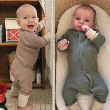Одежда для сна с длинными рукавами и пуговицами для новорожденных и малышей, осенняя одежда, 1 предмет, 0-18 месяцев