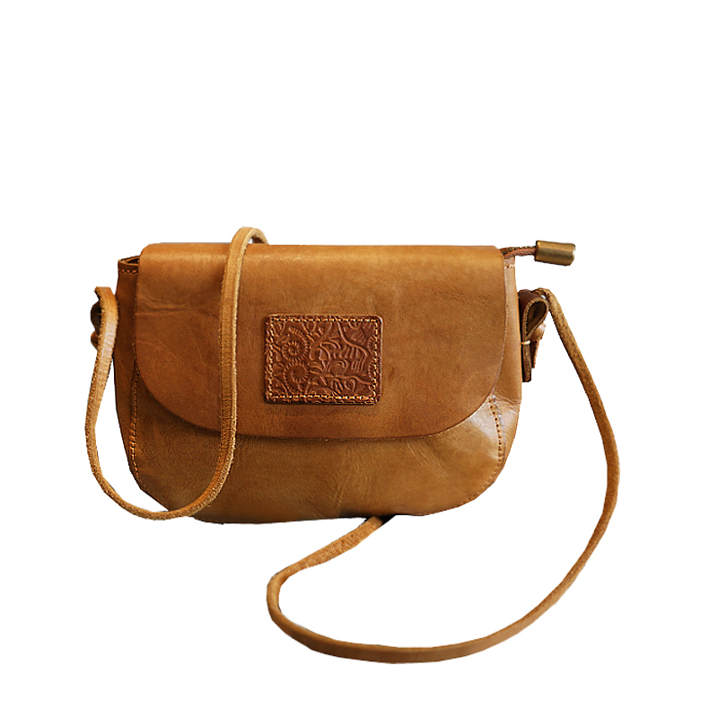 Quality Genuine Leather Women Shoulder Embossed Bags Retro Totem Pattern Natural Skin Handbag Diagonal Messenger Bag Handmade in Top Handle Bags from Luggage Bags