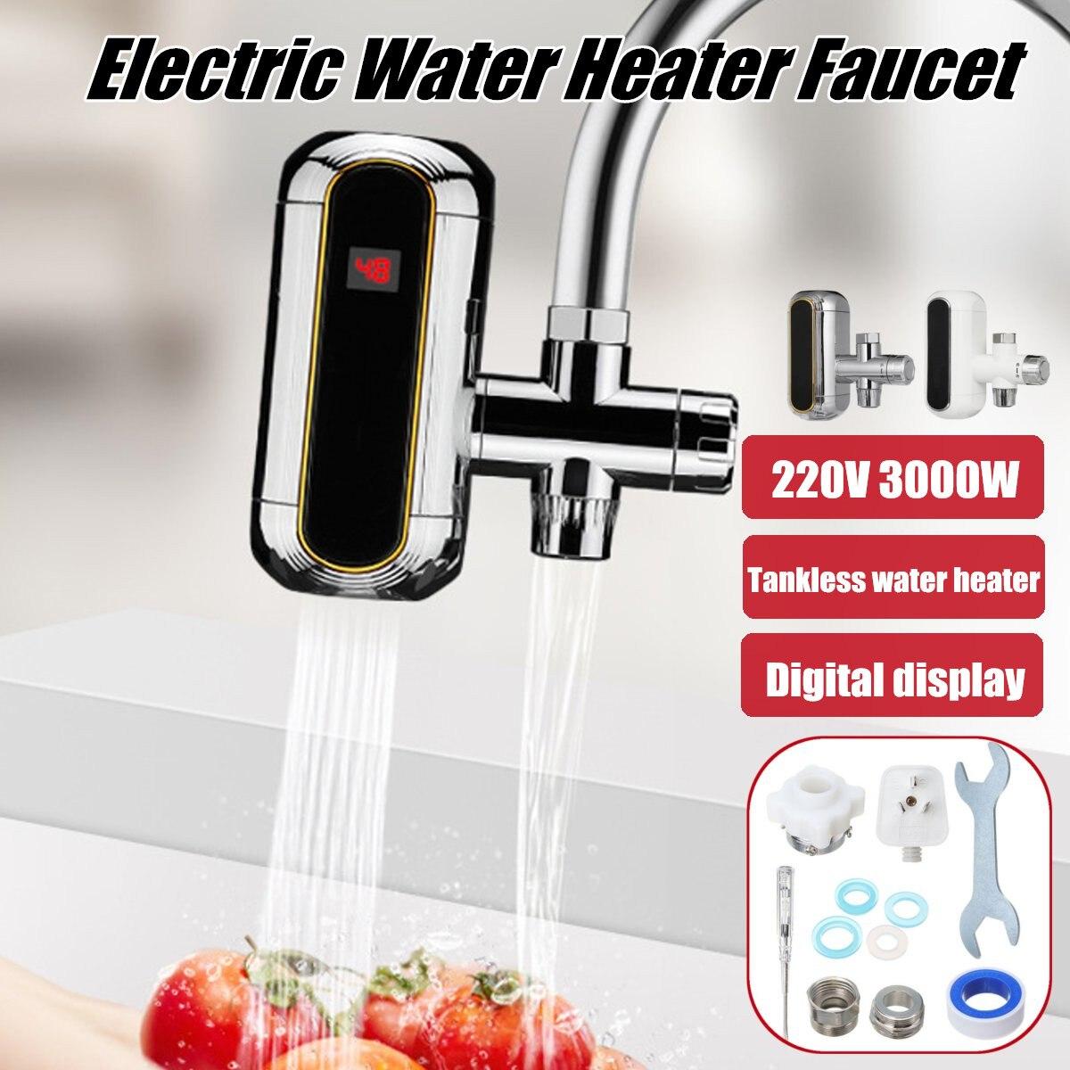 3000 W chauffe-eau électrique cuisine sans réservoir chauffe-eau instantané chauffe-eau électrique robinet de chauffage robinet 220 v