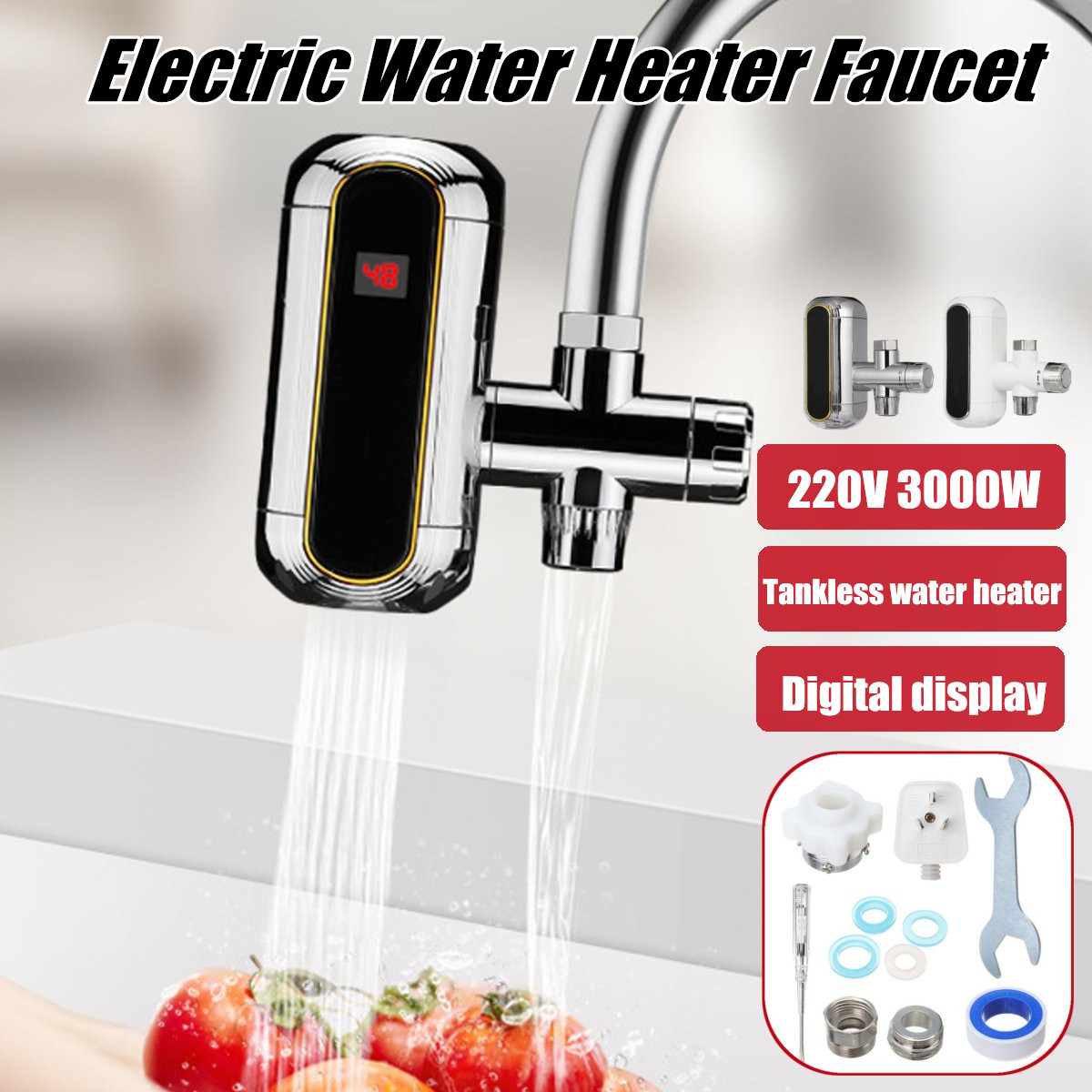 3000W Electric Water Heater Tankless Kitchen Instant Hot Water Tap Heater Electric Water Faucet Heating Tap 220v
