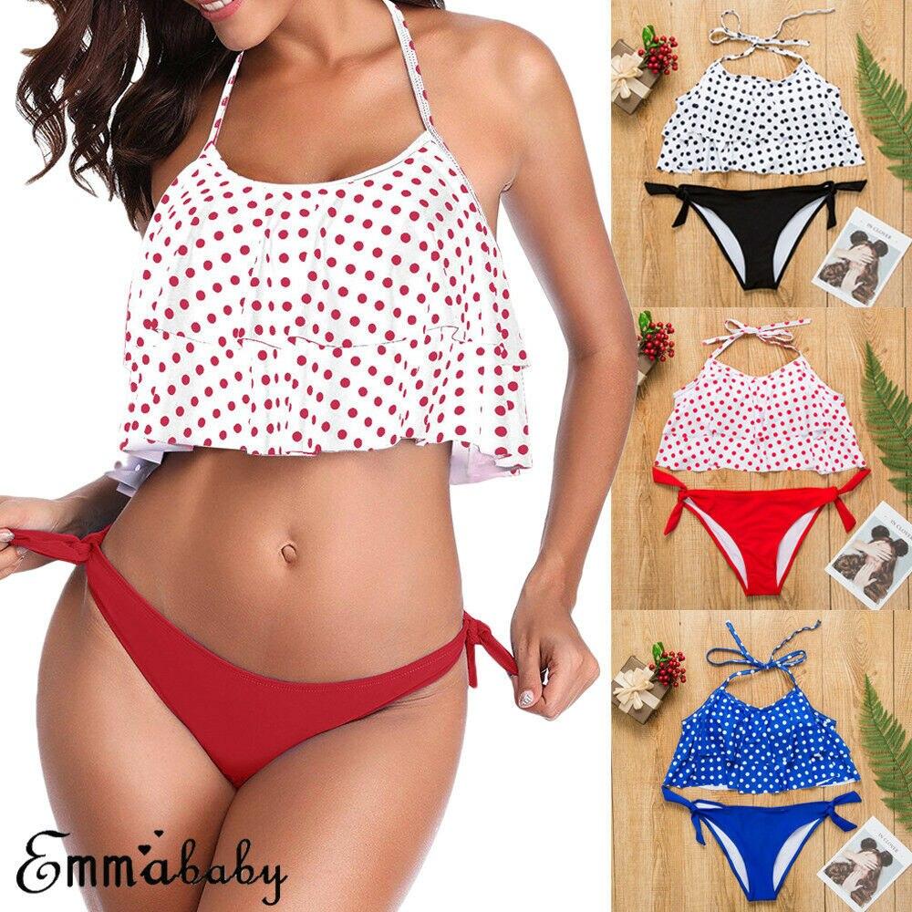 2019 Hot Sales Women 2pcs Bra Beach Set Swimsuit Swimwear Loose Polka Dot Tank Top With Pad + Solid Under Wear Free Shipping swimsuit top