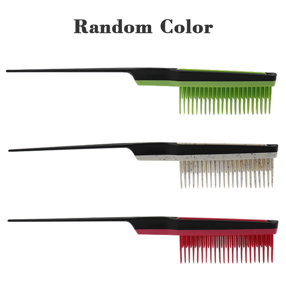 3-Row Teeth Teasing Comb Detangling Brush Sectioning Pin Tail Back Coming Volumizing Hairdressing Combs Random Color