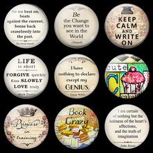 Change The World Quotes Letters Luminous Fridge Magnet Souvenir 30 MM Glass Dome Magnetic Decoration Refrigerator Stickers Note